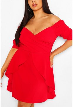Red Plus Bardot Ruffle Skater Dress