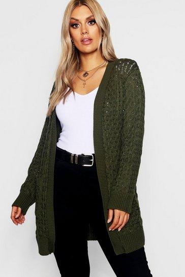 Khaki Plus Crochet Knitted Oversized Cardigan