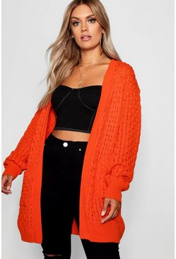 Orange Plus Crochet Knitted Oversized Cardigan