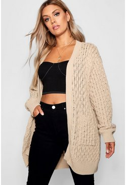 Stone beige Plus Crochet Knitted Oversized Cardigan