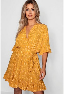 Mustard yellow Plus Spotty Wrap Skater Dress