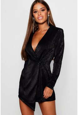 Black Petite Metallic Blazer Dress