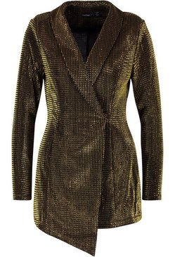 Gold Petite Metallic Blazer Dress