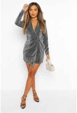 Grey Petite Metallic Blazer Dress