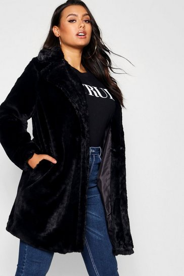 Black Plus Collared Faux Fur Coat