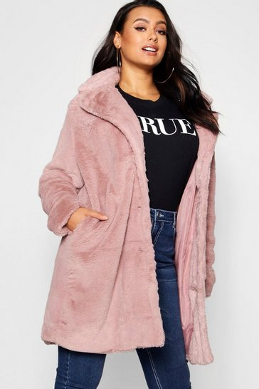 Blush pink Plus Collared Faux Fur Coat