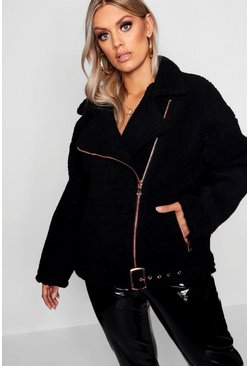 Black Plus Teddy Faux Fur Biker Jacket