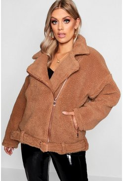 Brown Plus Teddy Faux Fur Moto Jacket
