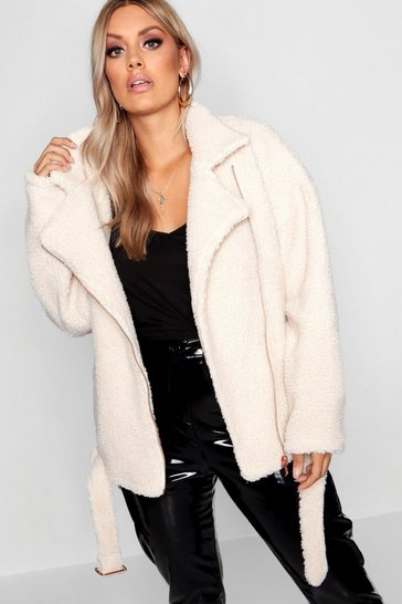 Cream white Plus Teddy Faux Fur Biker Jacket