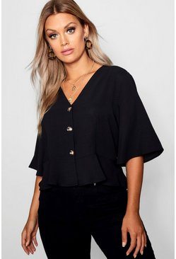 Black Plus Hem Horn Button Hem Top