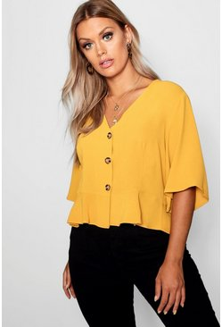 Mustard yellow Plus Hem Horn Button Hem Top