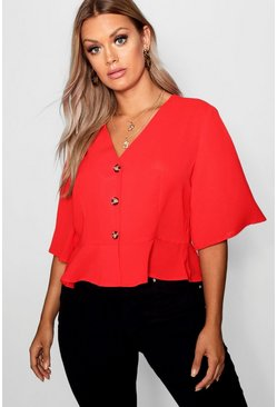 Red Plus Hem Horn Button Hem Top