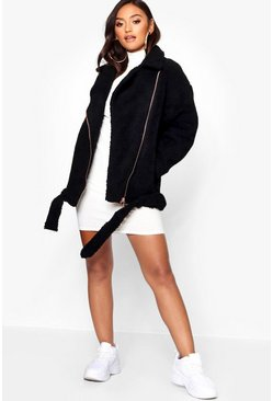 Black Petite Teddy Faux Fur Moto Jacket
