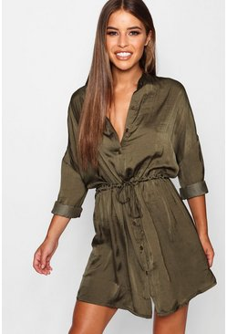 Khaki Petite Satin Tie Waist Shirt Dress