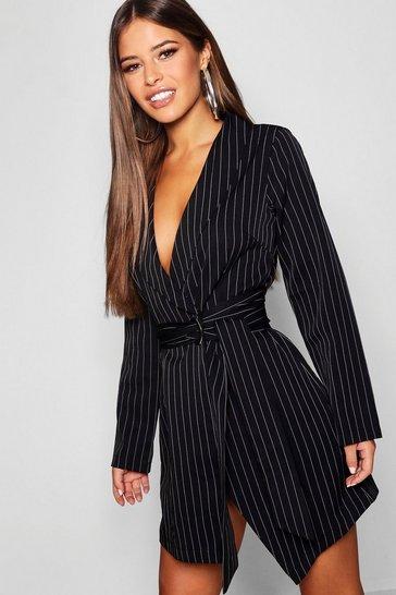 Black Petite Pinstripe Tie Side Blazer Dress