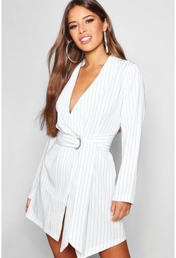 White Petite Pinstripe Tie Side Blazer Dress