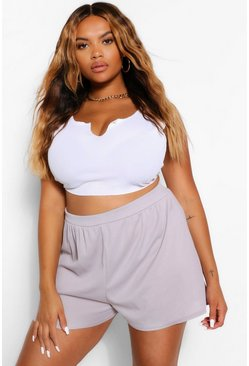 Grey marl grey Plus High Waist Short