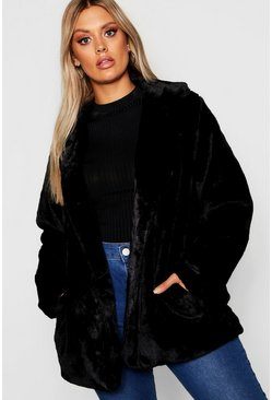 Black Plus Faux Fur Coat