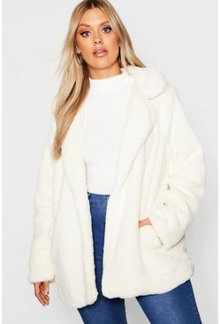 Cream white Plus Faux Fur Coat