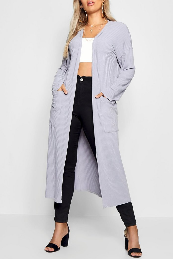 Plus Rib Pocket Longline Cardigan | boohoo
