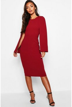 Berry red Petite Cape Sleeve Midi Dress