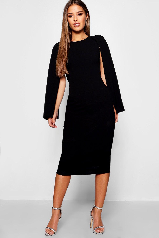 Petite Dresses Petite Cape Sleeve Midi Dress
