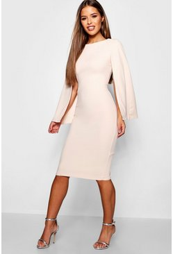 Nude Petite Cape Sleeve Midi Dress