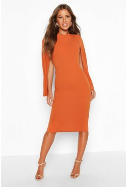 Terracotta orange Petite Cape Sleeve Midi Dress