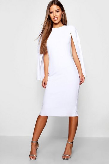 White Petite Cape Sleeve Midi Dress