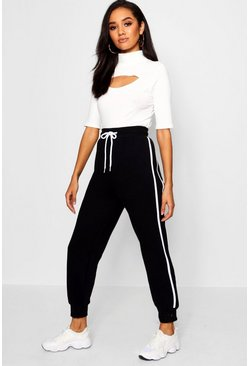 Black Petite Side Stripe Fleece Jogger