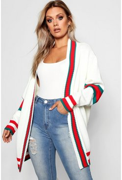 Ivory white Plus Contrast Stripe Oversized Cardigan