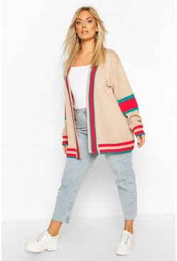 Stone Plus Contrast Stripe Oversized Cardigan