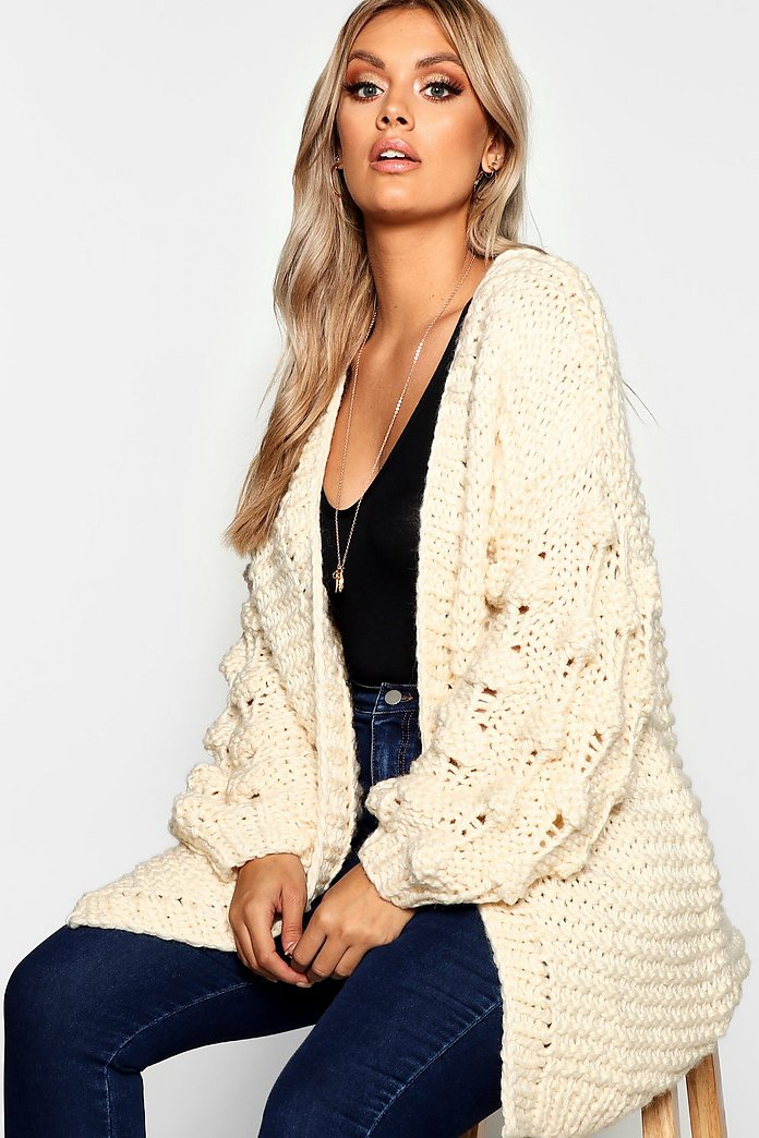 Plus Oversized Hand Knitted Chunky Cardigan | Boohoo UK