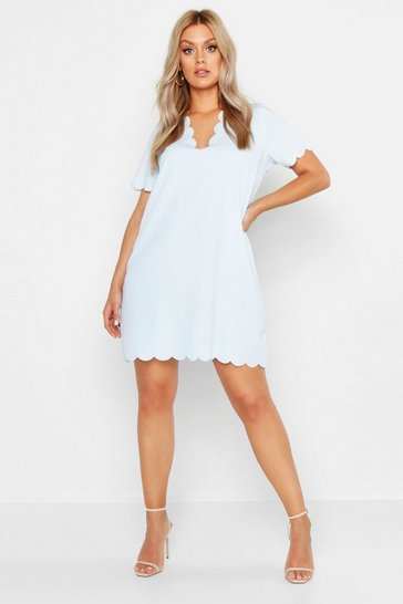 Sky blue Plus Scallop Edge V Neck Shift Dress