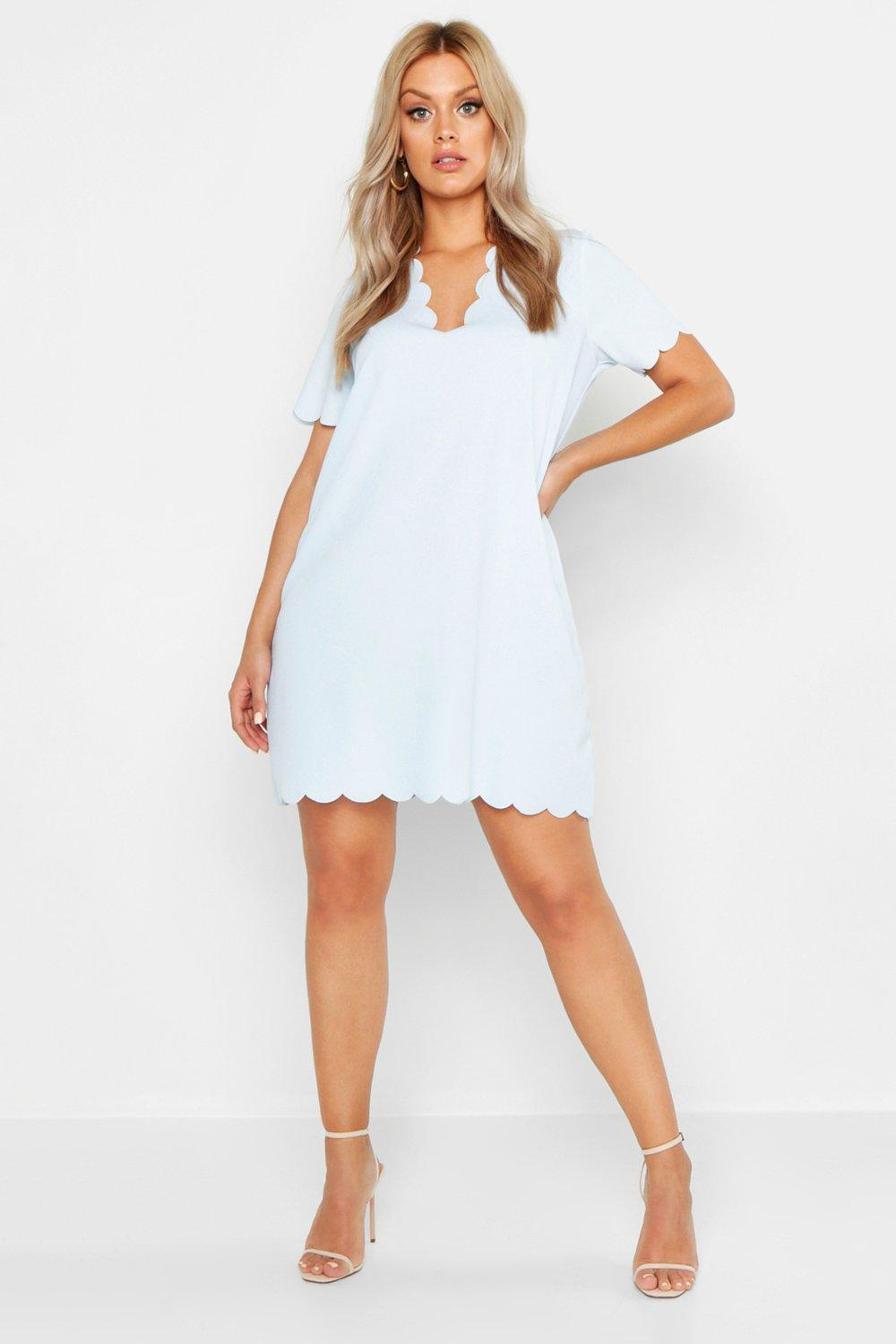 Plus Scallop Edge V Neck Shift Dress 17
