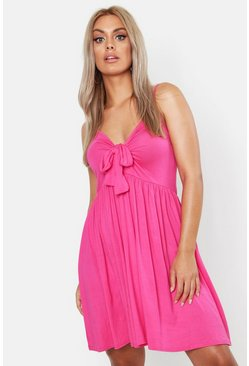 Bright pink pink Plus Strappy Knot Front Swing Dress
