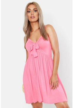 Coral pink Plus Strappy Knot Front Swing Dress