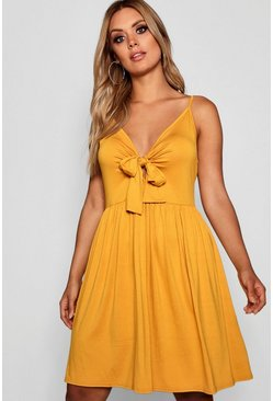 Mustard yellow Plus Strappy Knot Front Swing Dress