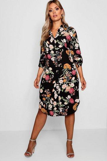 Black Plus Floral Printed Shirt Dress