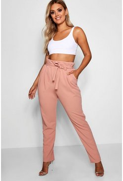 Blush pink Plus Paperbag Tapered Trouser