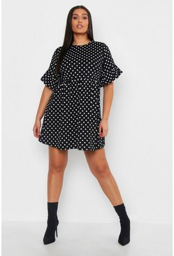 Black Plus Polka Dot Smock Dress
