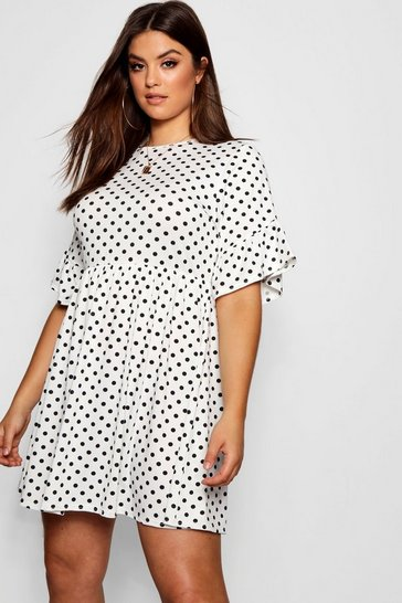 White Plus Polka Dot Smock Dress