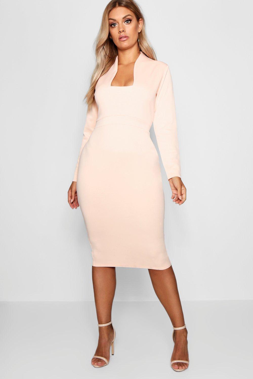 Plus Plunge High Collar Midi Dress 6