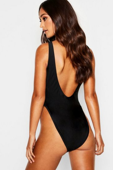 Black Petite Scoop High Leg Swimsuit