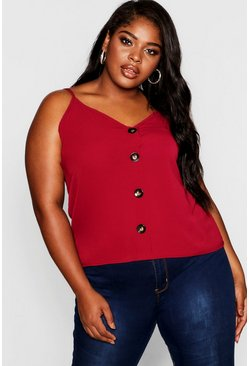 Berry red Plus Button Detail Cami