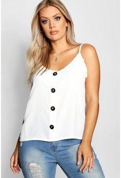 Ivory white Plus Button Detail Cami