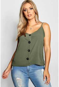 Sage green Plus Button Detail Cami