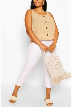 Stone beige Plus Button Detail Cami