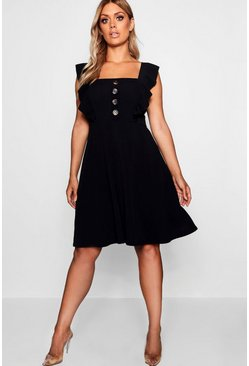 Black Plus Horn Button Detail Ruffle Skater Dress