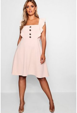 Blush pink Plus Horn Button Detail Ruffle Skater Dress